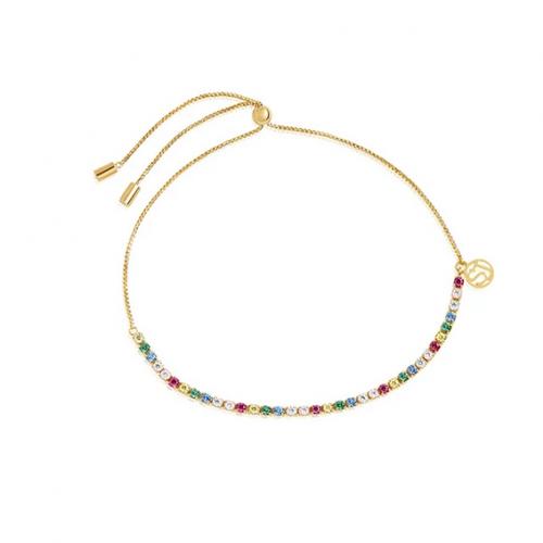 Bracelet Ellera Tennis - 18k gold plated with multicoloured zirconia