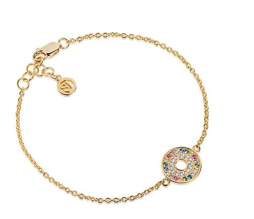 Bracelet Valiano - 18k gold plated with multicoloured zirconia