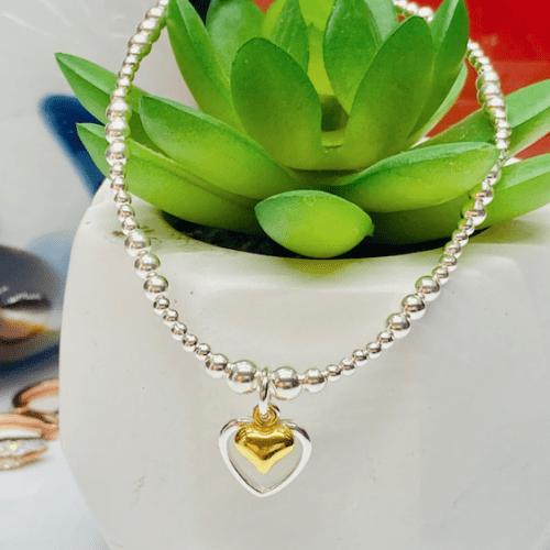 Dollie Jewellery Alicia Double Golden Heart Bracelet