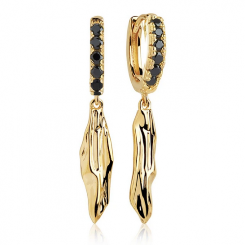 Earrings Vulcanello Lungo - 18k gold plated with black zirconia 1