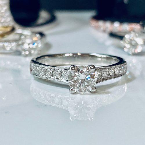 0.50ct Solitaire Milgrain Set Engagement Ring