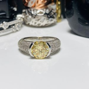 Bouton-canary Yellow Silver Ring 3