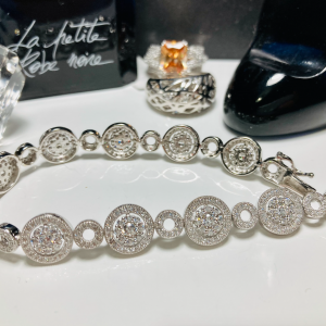 Silver Circles and Zirconia Bracelet