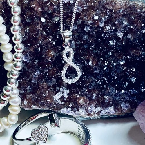 Sterling Silver Infinity Drop Necklace