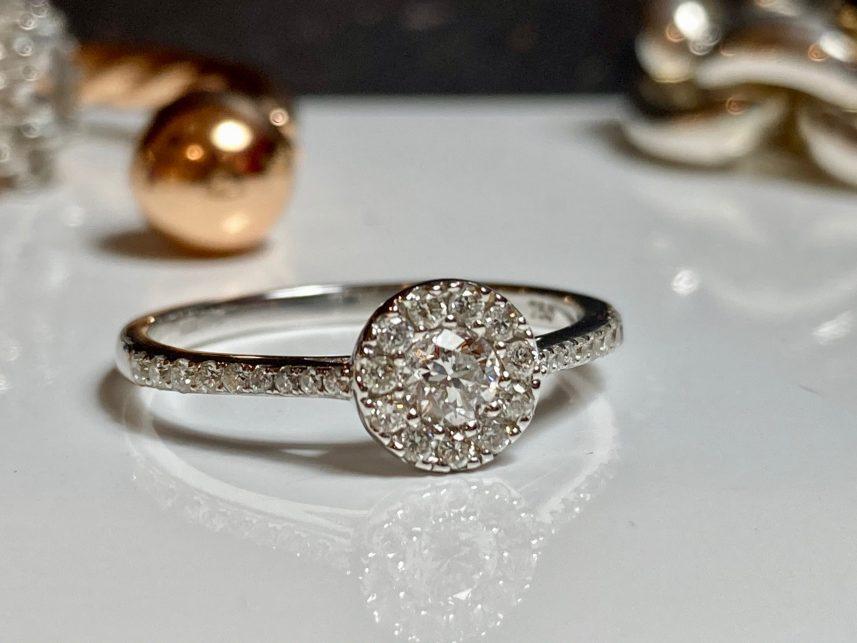 white gold halo set diamond ring