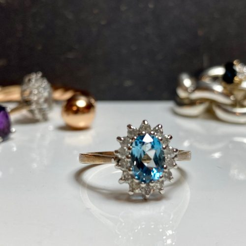 yelow gold and swiss blue topaz ring