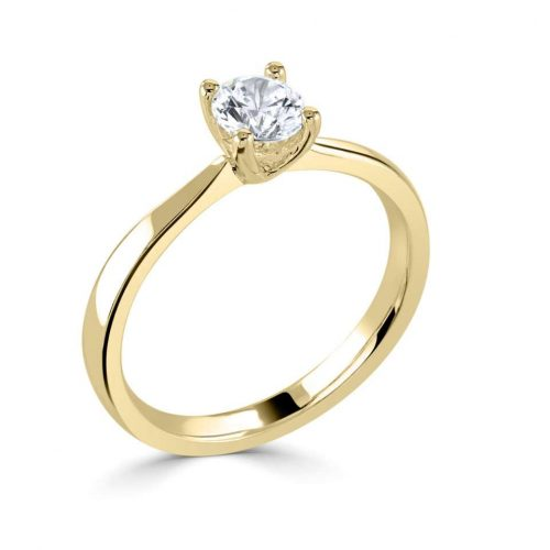 Solitaire 4 Claw Yellow Gold Engagement Ring