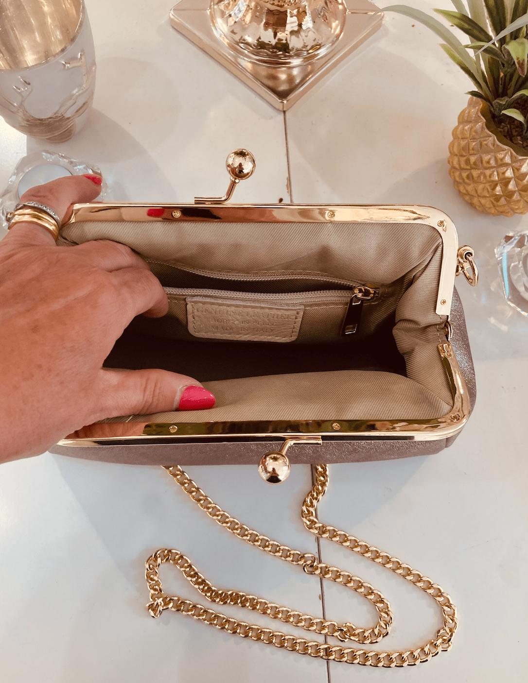 Carmella Gold Leather Hand Bag